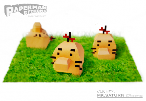 マザー2(MOTHER2)どせいさんのペーパークラフト Papercraft of mr.saturn from EarthBound2
