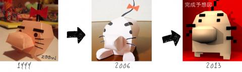 どせいさんペーパークラフトの変遷(papercraft of Mr.Saturn )
