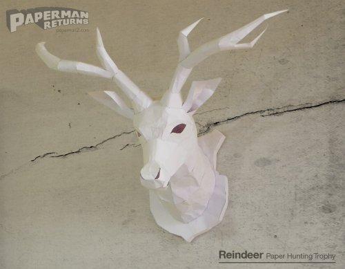 ペーパークラフトのトナカイ(鹿)ハンティングトロフィー(Reindeer of papercraft_hunting_trophy