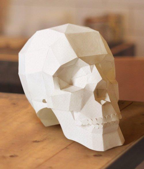ドクロのペーパークラフト、papercraft_skull