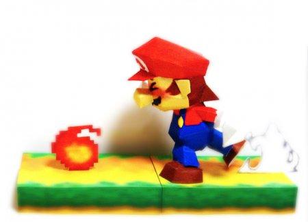 Papercraft of SSB MARIO (Super smash bros 64 Nintendo64 SSB texture ver.) 任天堂スマブラ64風マリオのペーパークラフト